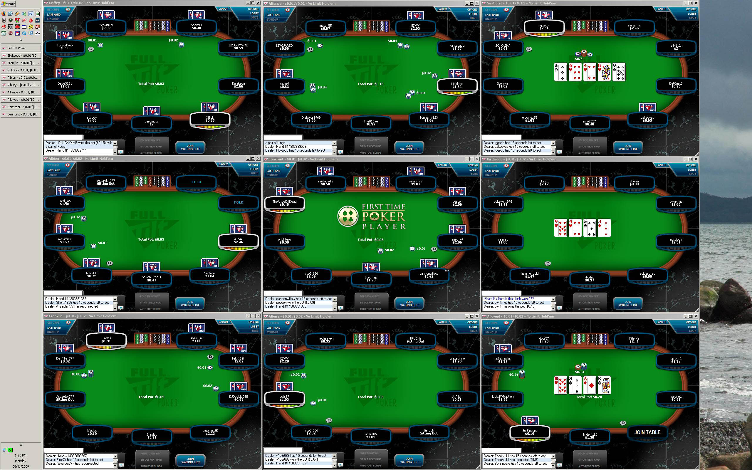Screenshot Full Tilt Poker: 9 resized tables on 30 inch monitor